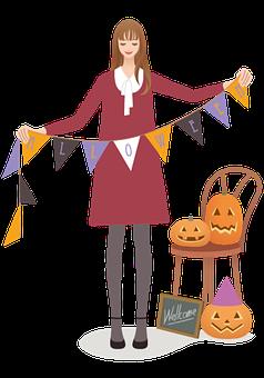 Woman, Halloween, Avatar, Human, Female, Autumn, Banner