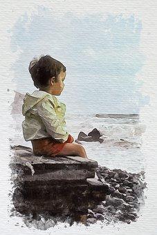 Boy, Kid, Child, Beach, Sea, Waves, Painting