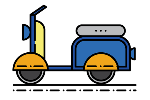 Bike, Vehicle, Scooter, Icon, Line Drawing