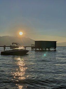 Lake, Boat, Sunset, Sun, Sunlight, Sun Reflection