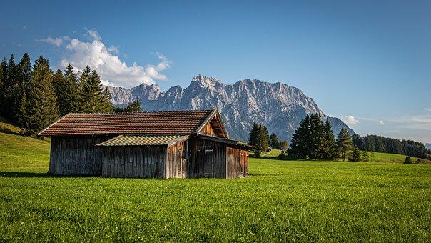 Mountains, Hut, Grassland, Mountain Hut, Cabin, Cottage