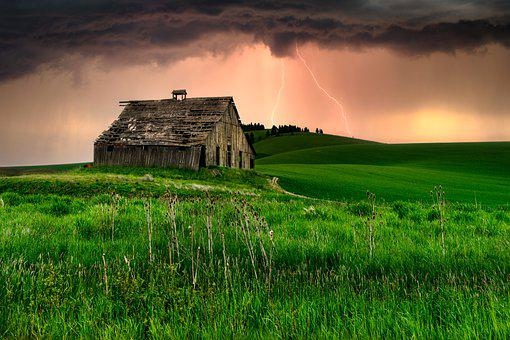 Cabin, Hut, Field, Lightning, Storm, Nature, Landscape