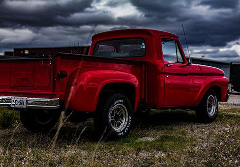 Truck, Red Truck, Ford, Cloudy, Automobile, Automotive