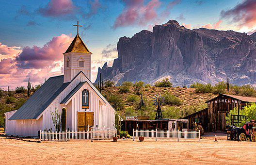 Church, Building, Cross, Rocks, Mountains, Religion