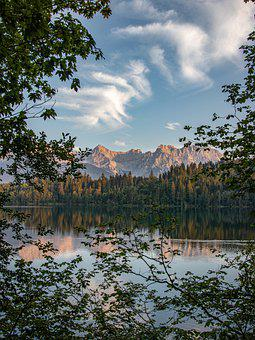 Lake, Mountains, Trees, Forest, Hiking, Water, Sky