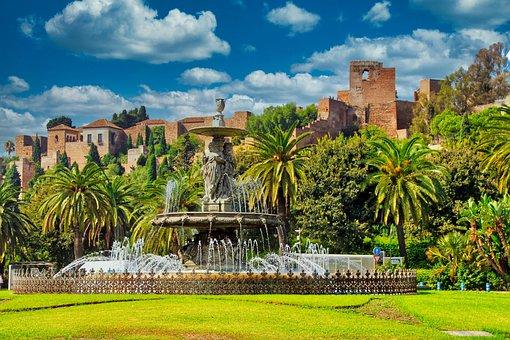 Fountain, Moorish, Garden, Alcazaba, Southern Spain