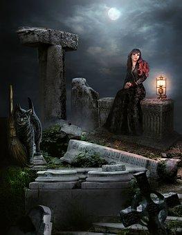 Woman, Graveyard, Fantasy, Mysterious, Cat, Grave