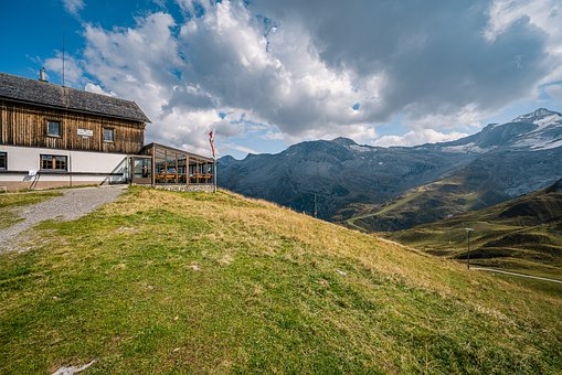 Mountains, Cabin, Hut, Trees, Forest, Glacier, Sky