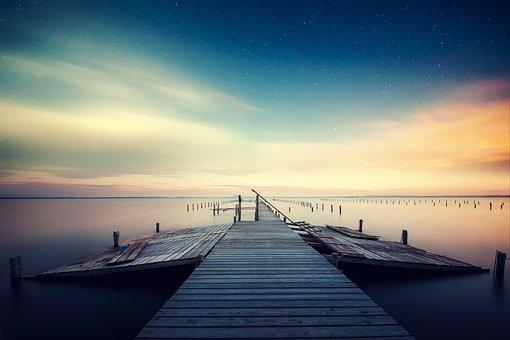 Spring, Promenade, Lake, Calm Waters, Star, Night Sky