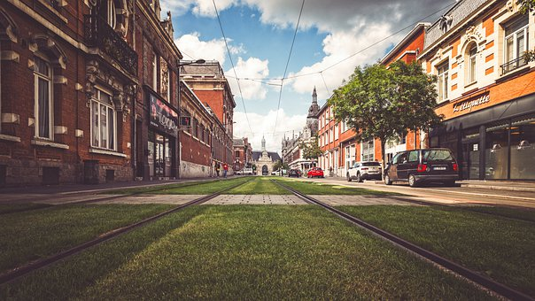 Road, Rail, City, Urban, Downtown, Grass, Rail Track