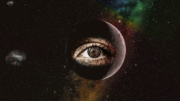 Eye, Planet, Space, Clouds, Stars, Starry Sky, Galaxy