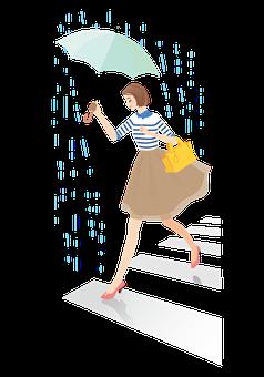 Woman, Avatar, Raining, Umbrella, Rainy, Pedestrian