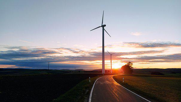 Windmill, Road, Sunset, Wind Power, Wind Energy