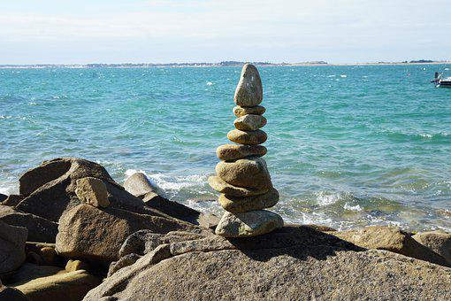 Sea, Coast, Cairn, Rock Balancing, Stone Balancing