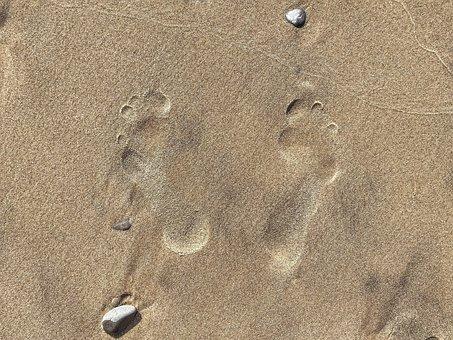 Footprints, Sand, Beach, Outdoors, Coast, Shore