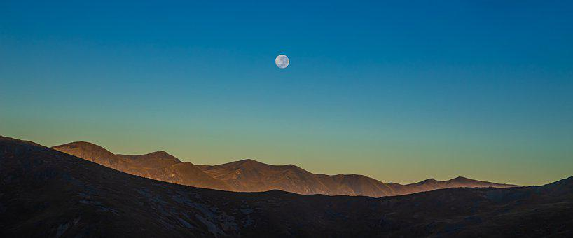 Nature, Mountains, Moon, Full Moon, Summit, Peak