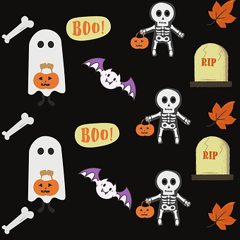 Halloween, Icons, Symbols, Ghosts, Bones, Skeletong