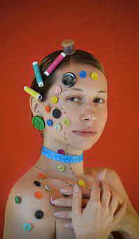 Buttons, Button, Model, Portrait, Woman, Women, Lady