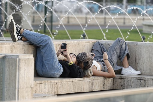 Girls, Lying, Fountain, Park, Benches, Concrete