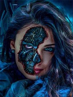 Woman, Robot, Mechanic, Metal, Face, Fantasy