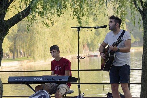 Boys, Musicians, Park, Street Musicians