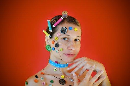 Buttons, Needlework, Button, Model, Portrait, Woman