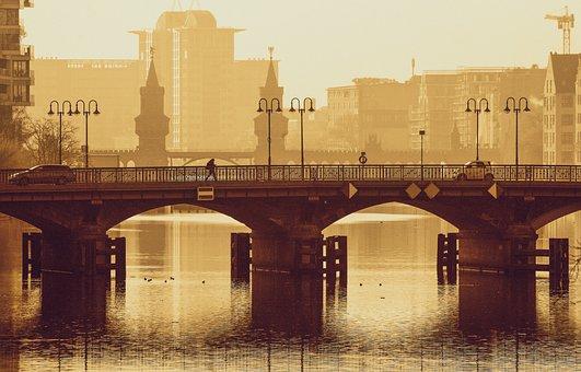 Bridge, River, Cityscape, Architecture, Building