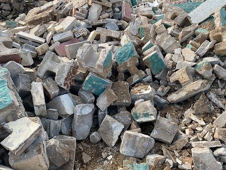 Debris, Hollow Blocks, Scrap, Rubbish, Waste, Dump