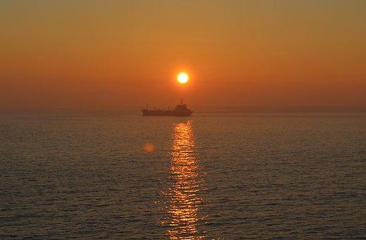 Sunset, Ship, Sea, Ocean, Seascape, Sun, Reflection