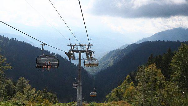 Cable Car, Lift, Forest, Trees, Mountains, People, Sky