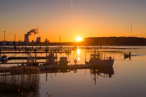 Rostock, Sunrise, Warnow, Sun, Germany, Vacations, Port