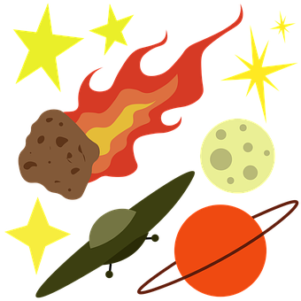 Stars, Moon, Ship, Mars, Planet, Galaxy, Cosmos