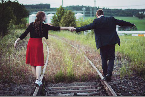 Love, Couple, Railroad, Relationship, Together, Man