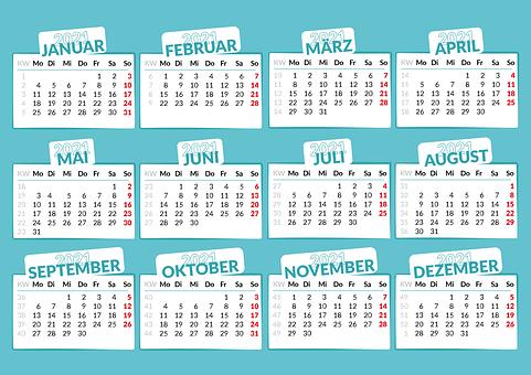 Calendar, 2021, Months, Year, Date, Schedule, Planner
