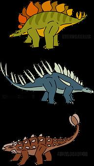 Dinosaurs, Stegosaurus, Kentrosaurus, Ankylosaurus
