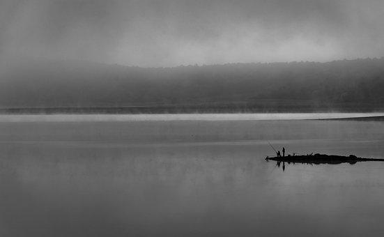 Lake, Boat, Fisherman, Fishing, Fog, Horizon, Clouds