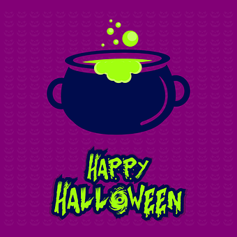Halloween, Card, Happy Halloween, Cauldron, Greeting