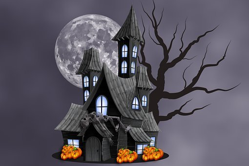 Halloween, Haunted House, Moon, Full Moon, Pumpkins