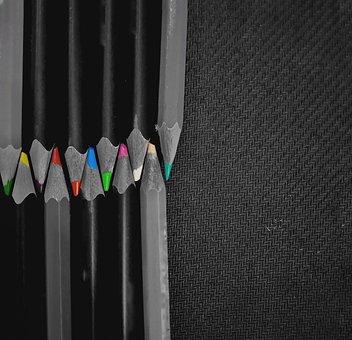 Pencils, Colorsplit, Blackandwhite, Colorful