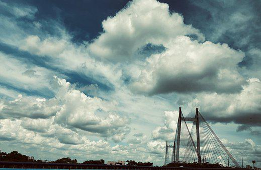 Bridge, Strycture, Clouds, Sky, City, Architecture