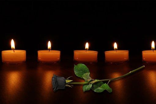 Candles, Mourning, Rose, Black Rose, Sad, Atmosphere