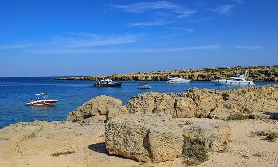 Boats, Lake, Rocks, Coast, Blue Lagoon, Cyprus