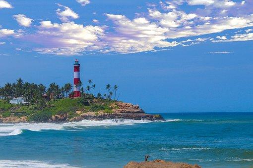Lighthouse, Ocean, Coast, Island, Sky, Building