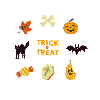 Pumpkin, Cat, Candy, Leaf, Bones, Halloween, Harvest