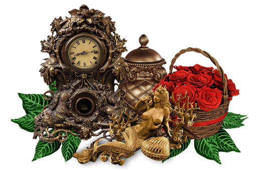 Clock, Figurine, Basket, Basket Of Roses, Red Roses