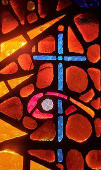 Cross, Stained Glass, Church, Faith, Religion