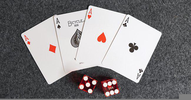 Aces, Cards, Dice, Four Aces, Card Game, Playing Cards