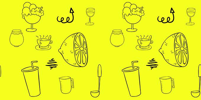 Doodles, Sketch, Drinks, Lemon, Ice Cream, Tea, Hot Tea