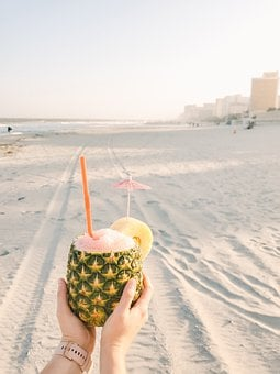 Pineapple, Drink, Beach, Sand, Tropical, Beverage