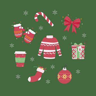 Christmas, Icons, Winter Clothes, Gift, Present